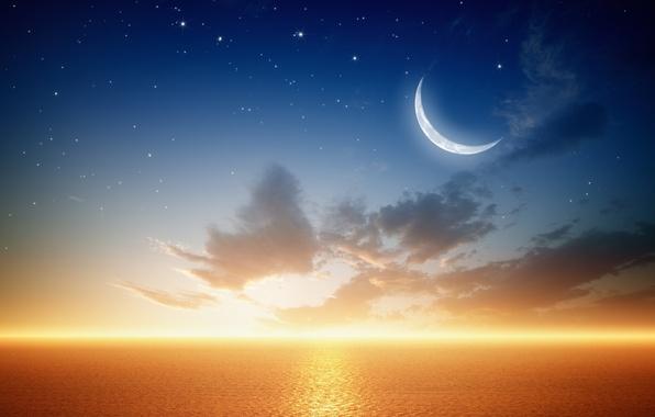 Picture sea, planet, stars