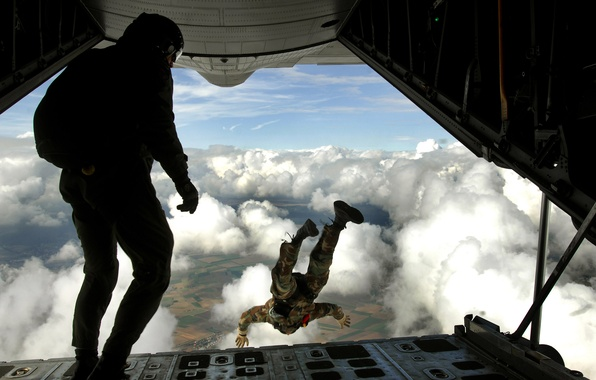 Picture clouds, the plane, height, Jump
