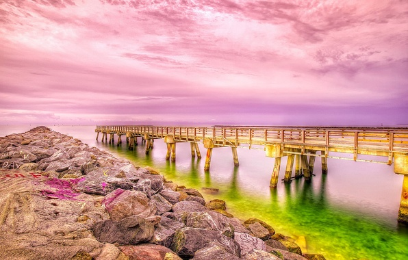 Picture sea, the sky, clouds, shore, pier, hdr, pierce, the bridge