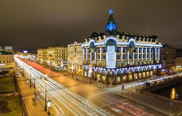 Picture night, lights, street, building, home, Peter, Saint Petersburg, Russia, Russia, SPb, St. Petersburg, Nevsky Prospekt, …