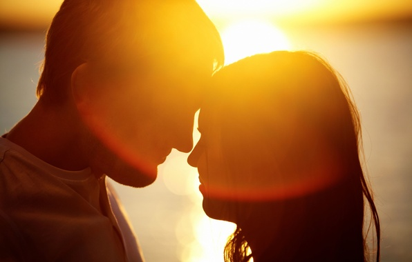 Picture girl, the sun, love, joy, happiness, sunset, smile, background, mood, woman, feelings, silhouette, pair, male, …