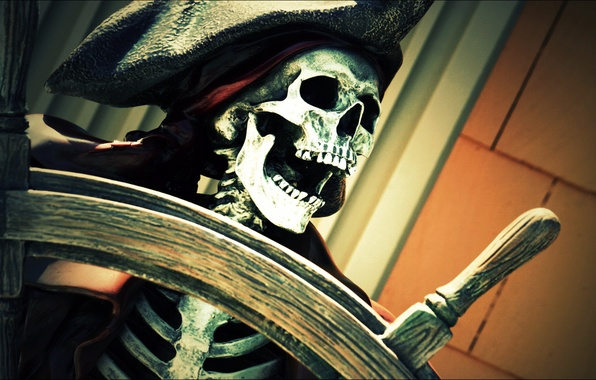 Picture hat, pirate, skeleton, jaw, the wheel