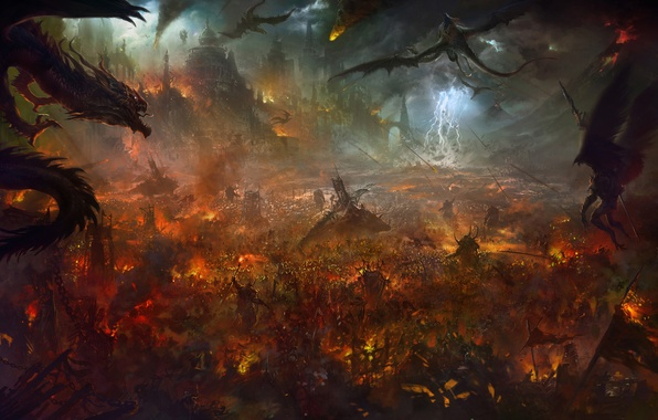 Picture fire, zipper, dragons, fortress, the battle, Art, demons, army