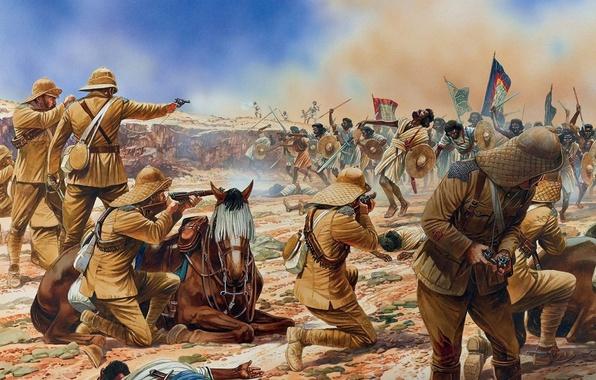 Picture figure, art, soldiers, swords, shields, spears, rifle, ammunition, British, revolvers, To Omdurman the battle, modesty, …