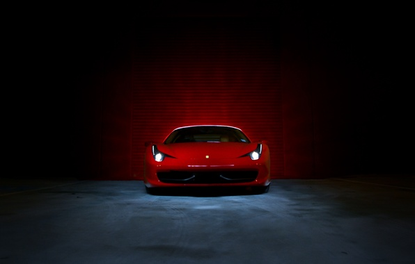 Picture light, lights, Boxing, red, ferrari, Ferrari, Italy, the front, 458 italia