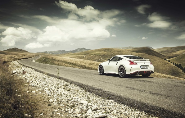 Picture road, clouds, mountains, Nissan, solar, 370Z, rear