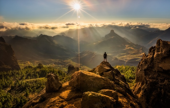 Picture the sun, rocks, people, Nature, top, panorama, Blik