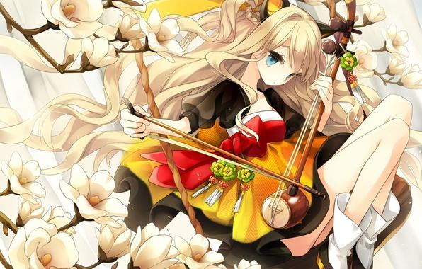 Picture girl, flowers, branch, art, vocaloid, bow, ears, Vocaloid, seeu, hajida
