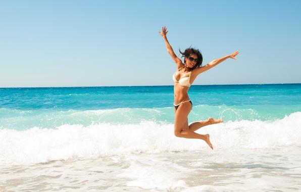 Picture beach, water, pose, happiness, bikini, diving