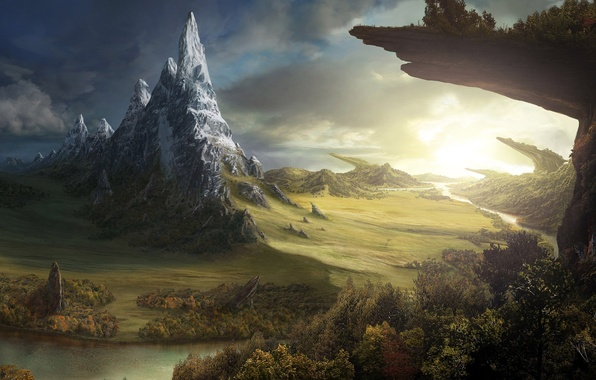 Picture field, forest, river, fantasy, rocks, the world