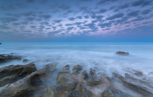 Photo wallpaper sea, clouds, stones, dawn, shore, morning, threads