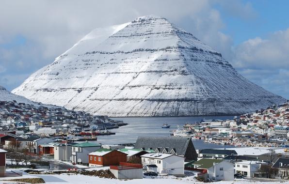 Picture the sky, Islands, the city, photo, mountain, snowy, Friscia, Klaksvik