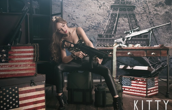 Picture girl, pose, weapons