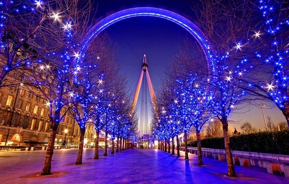 Picture night, the city, street, Ferris wheel, alley, illumination