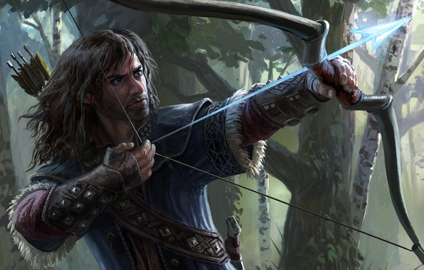 Picture forest, magic, bow, the Lord of the rings, art, dwarf, lord of the rings, kili