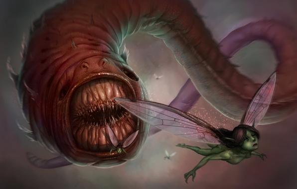 Photo wallpaper fairy, creature, teeth, worm
