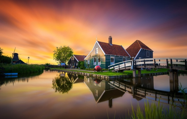 Picture sunset, bridge, reflection, home, mill, channel, Museum, Netherlands, The Netherlands, Zaanse Schans, The Zaanse Schans