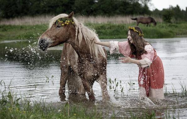 Picture summer, girl, squirt, river, mood, horse, bathing