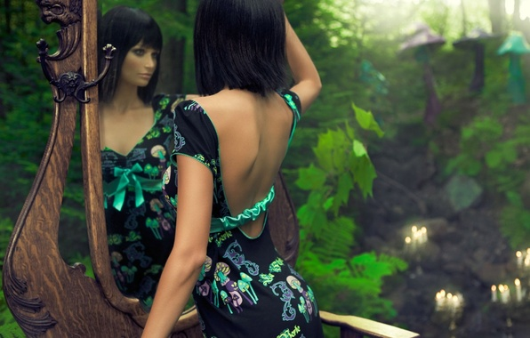 Picture girl, nature, face, reflection, background, Wallpaper, tale, makeup, dress, mirror, brunette, green, different