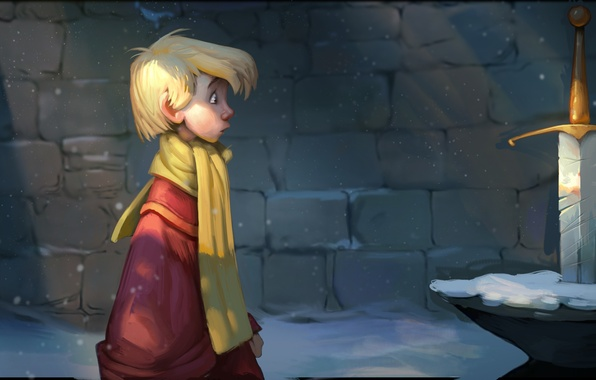 Picture cartoon, sword, boy, art, the sword in the stone