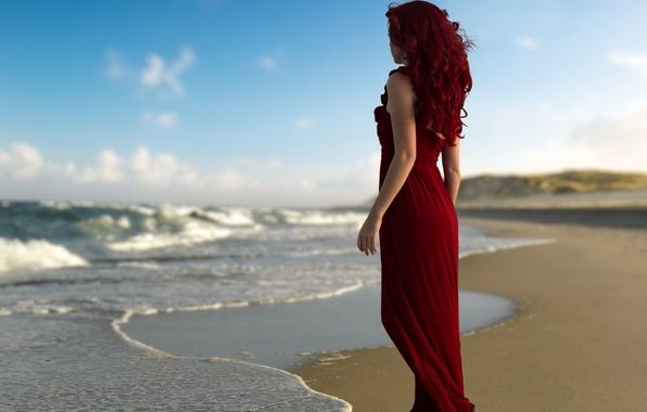 Picture beach, water, girl, beauty
