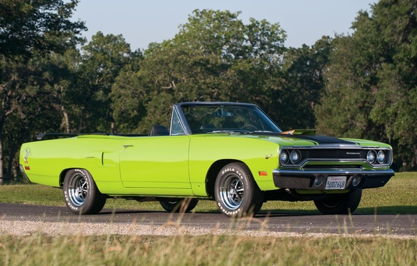 Picture road, trees, green, convertible, 1970, Plymouth, the front, Convertible, Plymouth, Road Runner, Road Runner