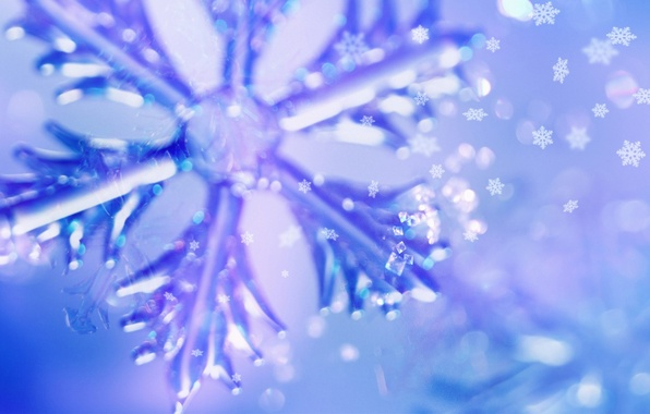 Picture macro, snowflakes, blue, photo, background, Wallpaper, Shine, new year, Holiday, flickering