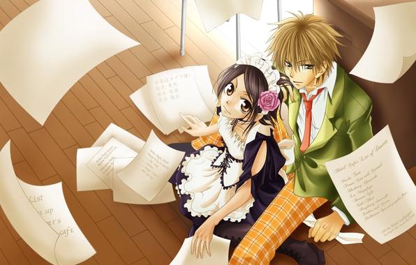 Picture girl, anime, guy, anime, the maid, Kaichou wa Maid-sama, Takumi Usui, Misaki Ayuzawa