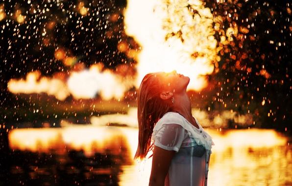 Picture girl, rain, mood