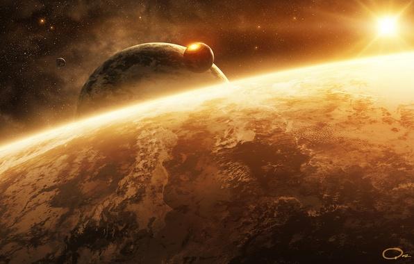 Picture space, surface, star, planet, satellite, art, QAuZ