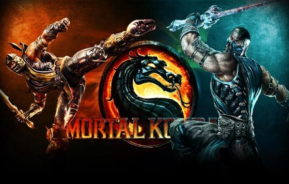 Picture fire, flame, the inscription, Wallpaper, dragon, ice, sword, fight, Scorpio, fire, muscle, fight, mortal Kombat, …
