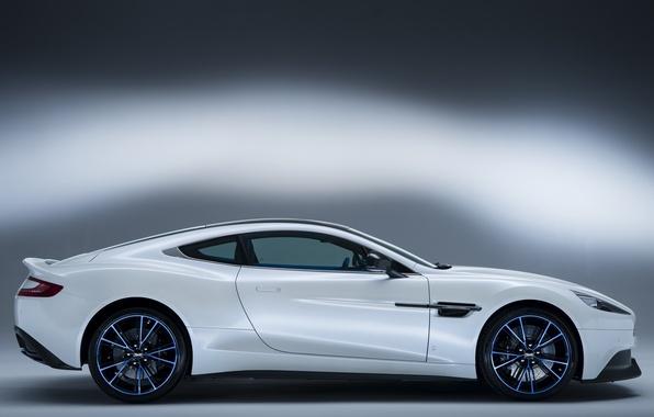 Picture auto, white, Aston Martin, side view, Vanquish Q