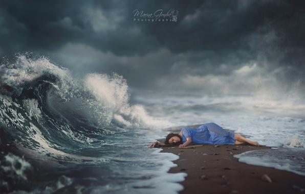 Picture sea, the sky, girl, dream, magic, magic, wave, sleep, girl, magic, sea, sand, wave