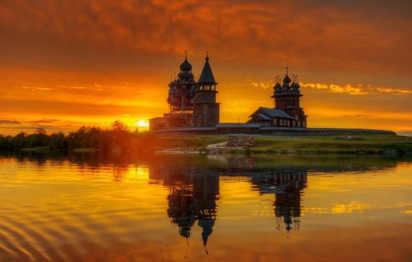 Picture dawn, Russia, Kizhi, Karelia