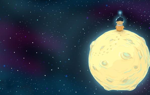 Picture space, stars, the moon, figure, astronaut, bear, helmet