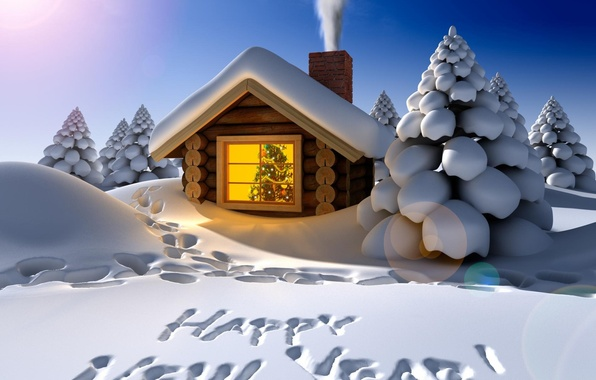 Picture winter, snow, decoration, night, traces, holiday, the inscription, smoke, tree, new year, the snow, house, …