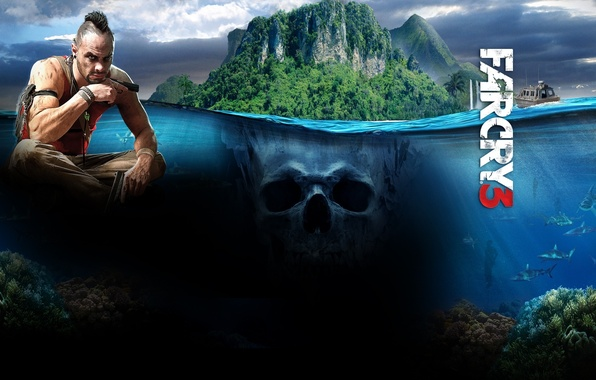 Picture sea, leaves, the game, jungle, sharks, game, ubisoft, far cry