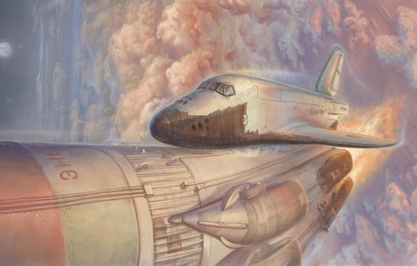Picture the sky, clouds, Shuttle, the rise, spaceship, buran