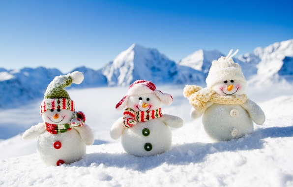 Picture New Year, Christmas, snowman, Christmas, winter, snow, snowman, Merry