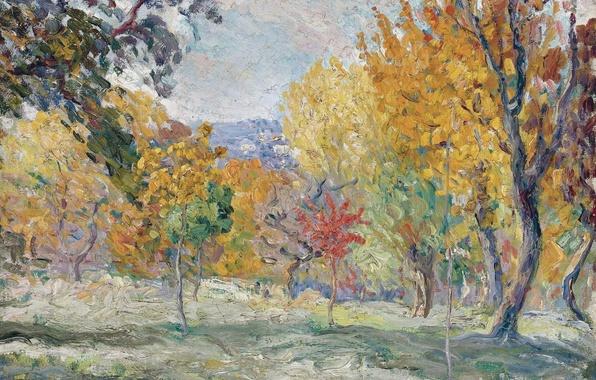 Picture autumn, trees, landscape, picture, Henri Lebacq, Landscape with Trees