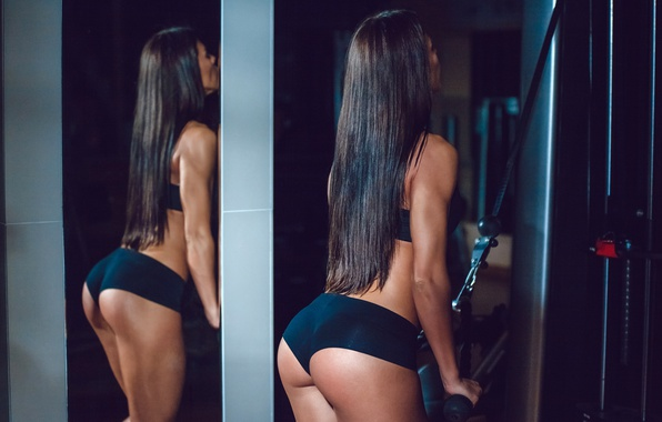 Picture brunette, pose, workout, fitness, gym