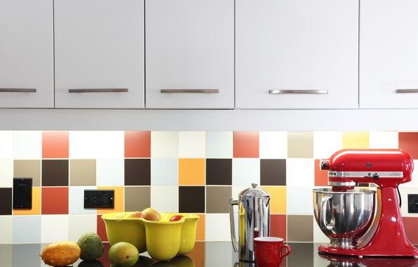 Picture tile, fruit, kitchen, outlet, cabinets, mixer