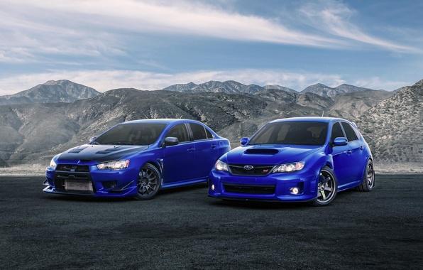 Picture Subaru, Impreza, Mitsubishi, Lancer, Evolution, blue, front, STi