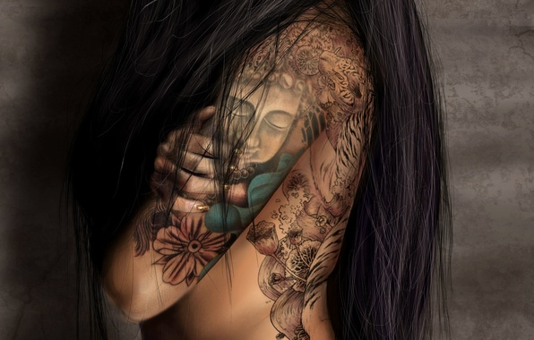 Picture girl, background, figure, back, hand, tattoo, long hair