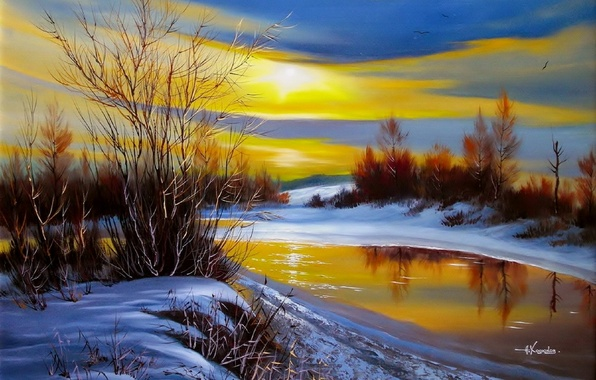 Picture water, the sun, snow, landscape, sunset, birds, nature, river, shore, ice, painting, the bushes, Khodukov