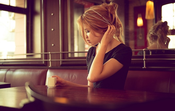 Picture coffee, blonde, Cup, cafe, curl, gesture