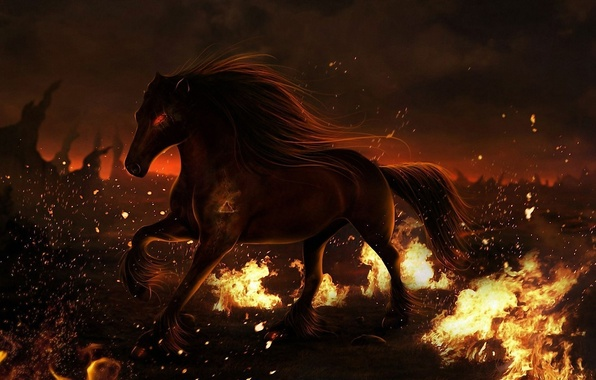 Picture fire, animal, horse, horse, mane, Fiction, hooves