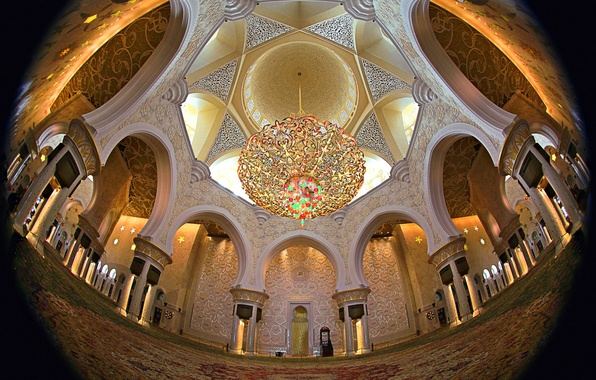 Picture chandelier, architecture, the dome, religion, UAE, Abu Dhabi, the Sheikh Zayed Grand mosque