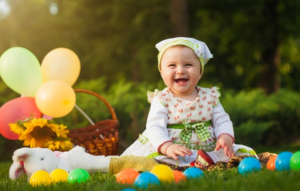 Picture balls, smile, child, dress, girl, little, beautiful, pretty, child, ball, little girl, fun