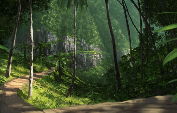 Picture road, greens, trees, nature, palm trees, rocks, jungle, art